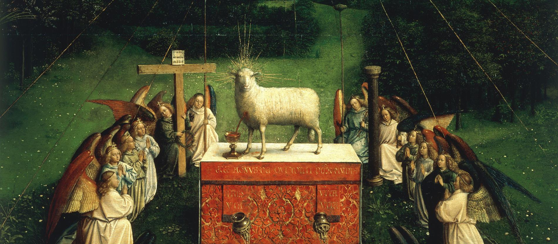 Das Lamm Gottes steht auf einem Altar, während Engel es anbeten.