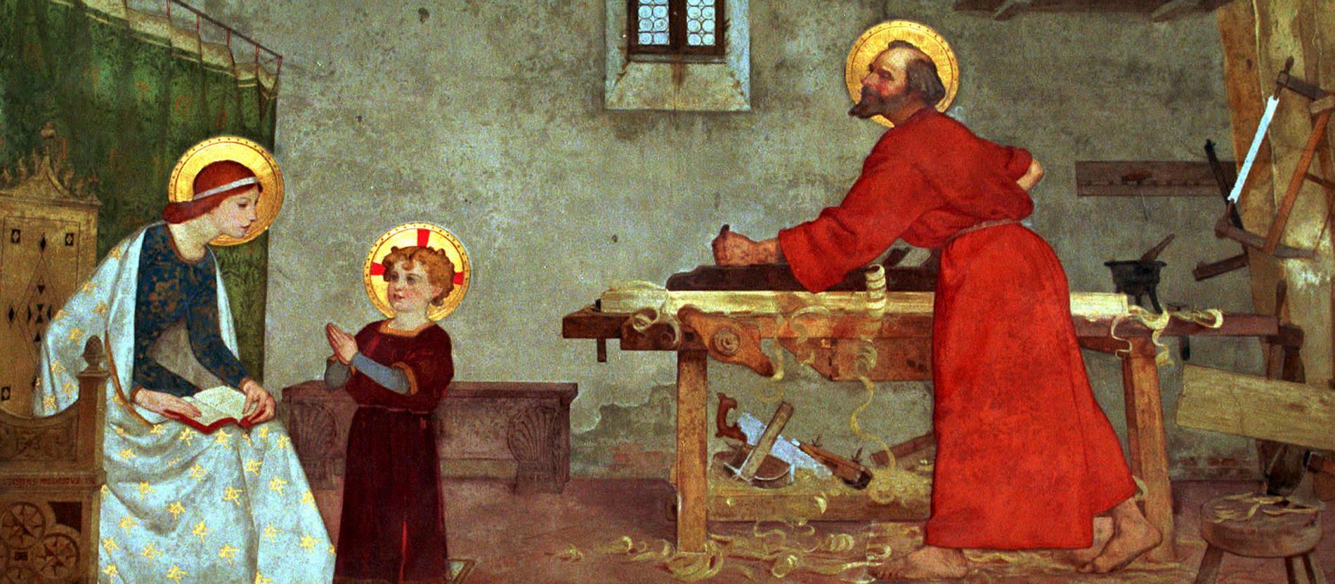 Gemälde mit Josef am Schreinertisch, Maria und Jesus gucken zu