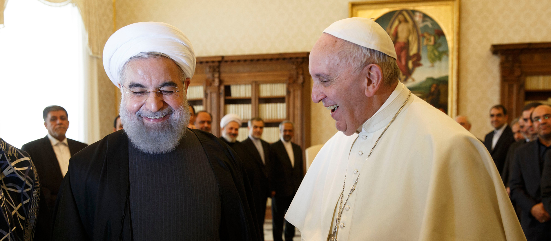 Papst Franziskus empfing den Präsidenten der Islamischen Republik Iran, Hassan Ruhani, am 26. Januar 2016 im Vatikan, in einer Privataudienz.