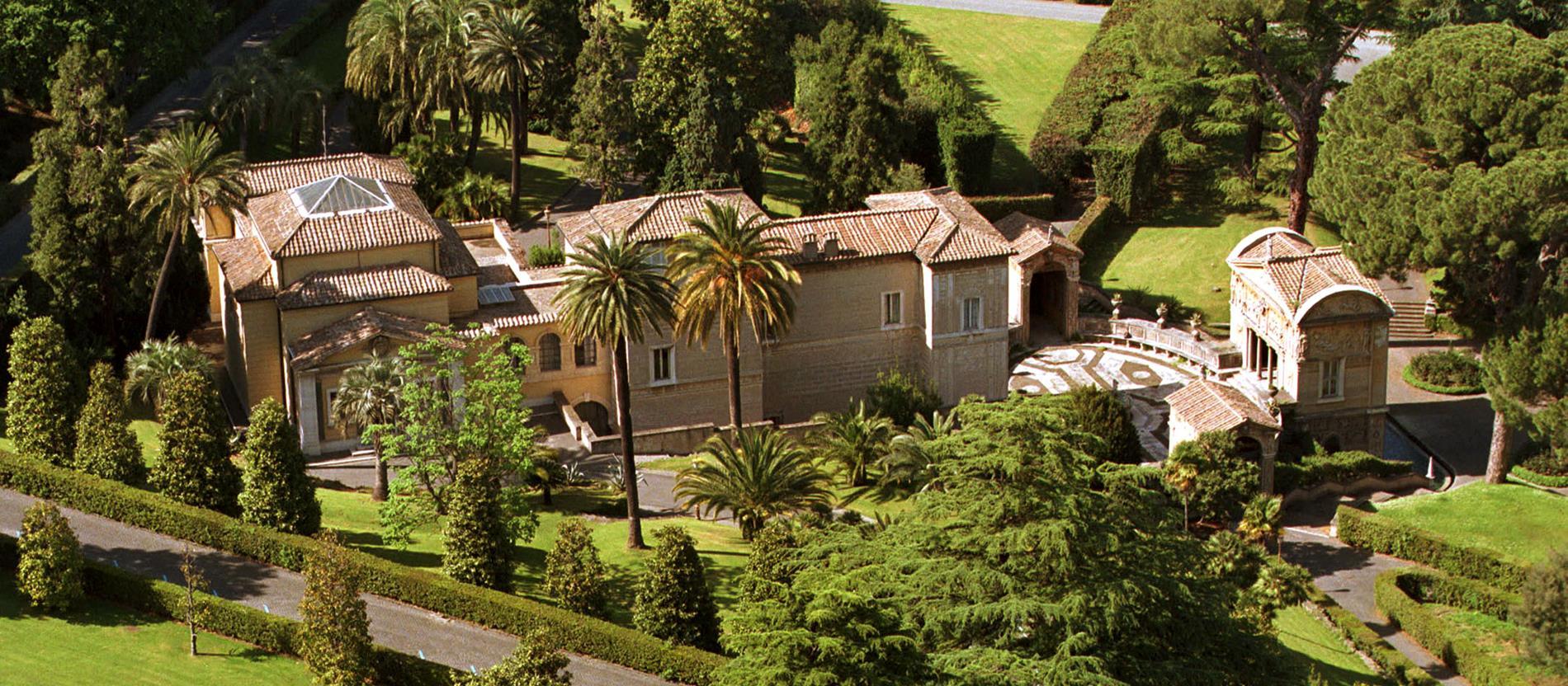 Eine Luftaufnahme des Hauses Casina di Pio in den Vatikanischen Gärten