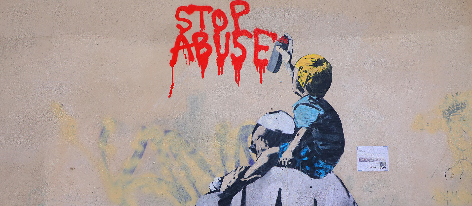 "Papst-Graffito ""Stop Abuse"""