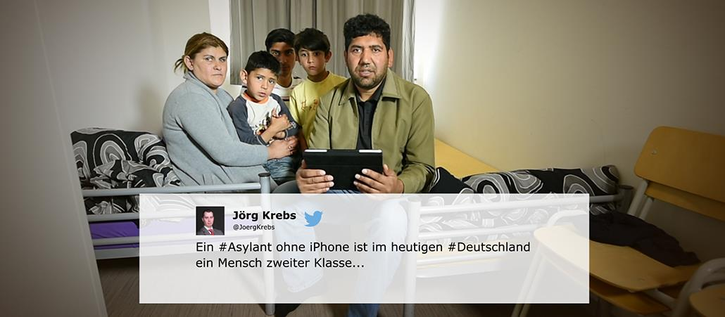 Familie in Flüchtlingsheim, Tweet in Bildmitte