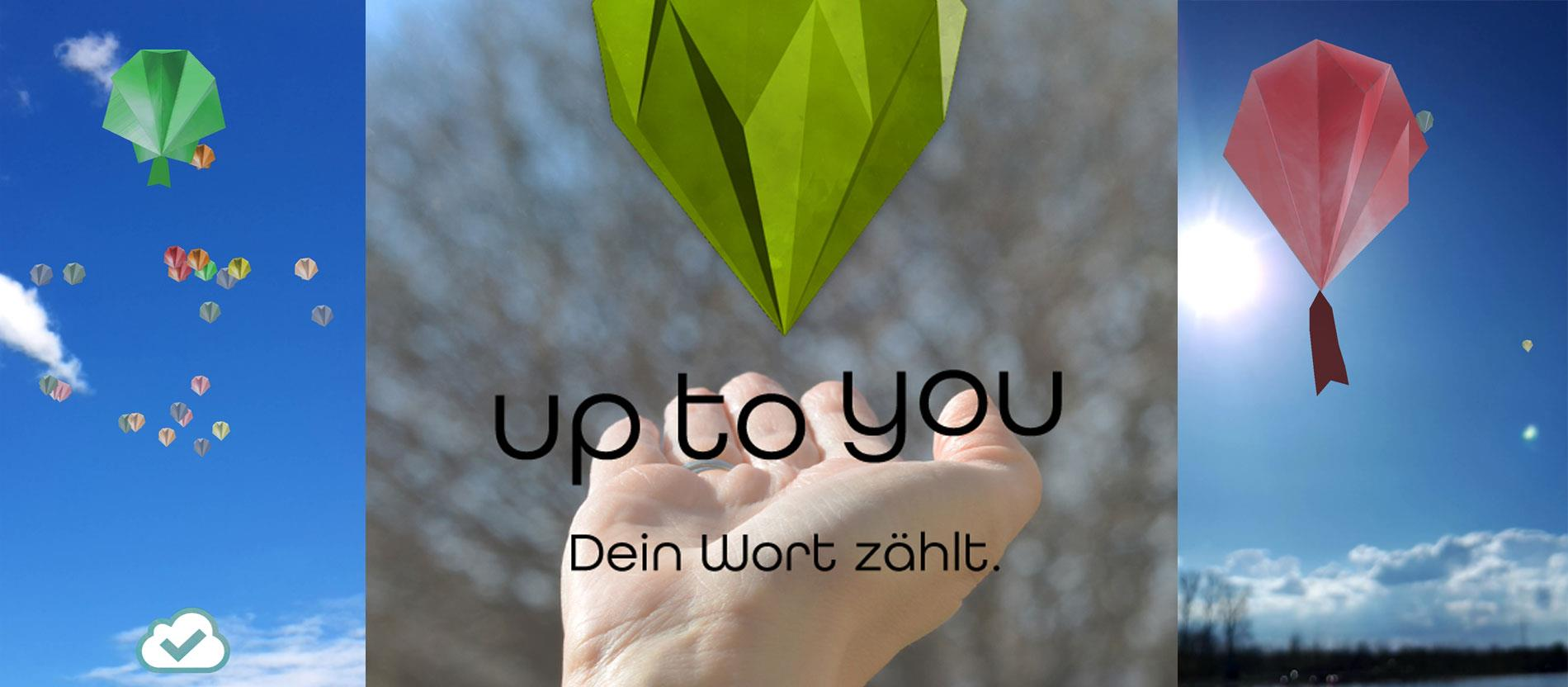 "Screenshots aus der App ""Up to you"""